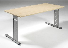 Schreibtisch Madrid, beidseit. zurückgesetzt, 160 cm Breite, höhenverstellbar