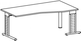 PC-Schreibtisch Madrid rechts, li. zurückgesetzt, 180 cm Breite, höhenverstellbar