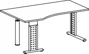 PC-Schreibtisch Madrid links, re. zurückgesetzt, 180 cm Breite, höhenverstellbar