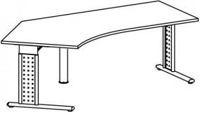 PC-Schreibtisch Madrid links, re. zurückgesetzt, 217 cm Breite, höhenverstellbar