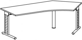 PC-Schreibtisch Madrid rechts, li. zurückgesetzt, 217 cm Breite, höhenverstellbar