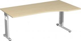 PC-Schreibtisch Lissabon rechts, 180 cm Breite, li. zurückgesetzt