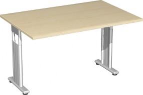 Schreibtisch Lissabon, 120 cm Breite, beidseitig zurückgesetzt, höhenverstellbar