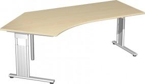 Schreibtisch Lissabon 135° links, 217 cm Breite, höhenverstellbar