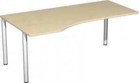 PC-Schreibtisch Stockholm links, 180 cm Breite, re. zurückgesetzt