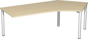 Schreibtisch Stockholm 135° rechts, 217 cm Breite, li. zurückgesetzt