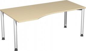 PC-Schreibtisch Stockholm links, 180 cm Breite, höhenverstellbar