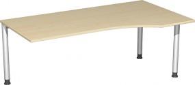 PC-Schreibtisch Stockholm rechts, 180 cm Breite, li. zurückgesetzt, höhenverstellbar