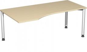 PC-Schreibtisch Stockholm links, 180 cm Breite, re. zurückgesetzt, höhenverstellbar