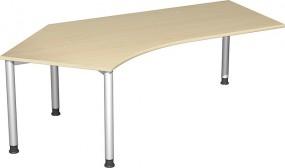 Schreibtisch Stockholm 135° links, 217 cm Breite, re. zurückgesetzt, höhenverstellbar