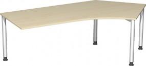 Schreibtisch Stockholm 135° rechts, 217 cm Breite, li. zurückgesetzt, höhenverstellbar