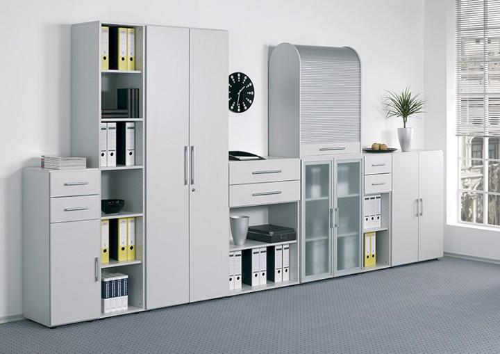 Büromöbel schrank  Rollladenschrank Mailand Aufsatz 2 Ordnerh. für Korpusbreite 80 cm ...
