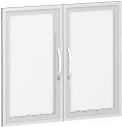 Glastürsatz mit Holzrahmen Mailand, 2 Ordnerh. für Korpusbreite 80 cm