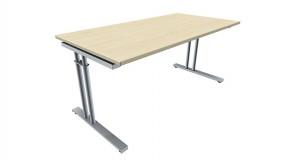 Schreibtisch five C-Fuß Zweisäuler, 160 cm Breite