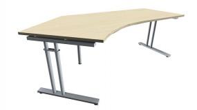 Schreibtisch five Freiform 135° links C-Fuß Zweisäuler, 217 cm Breite
