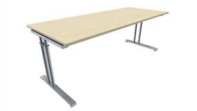 Schreibtisch five C-Fuß Zweisäuler, höhenverstellbar, 200 cm Breite