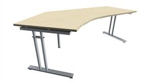 Schreibtisch five Freiform 135° links C-Fuß Zweisäuler, höhenverstellbar, 217 cm Breite
