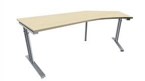 Schreibtisch five Freiform 135° rechts C-Fuß Zweisäuler, höhenverstellbar, 217 cm Breite