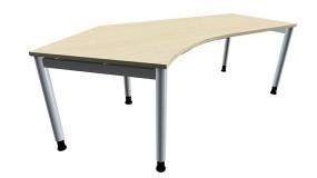 Schreibtisch five Freiform 135° links 4-Fuß-Gestell, Rundrohrprofil 60 mm, 217 cm Breite