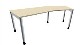 Schreibtisch five Freiform 135° rechts 4-Fuß-Gestell, Rundrohrprofil 60 mm, 217 cm Breite