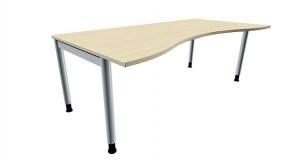 Schreibtisch five Ergonomieform 4-Fuß-Gestell, Rundrohrprofil 60 mm, 200 cm Breite