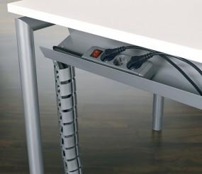 Kabelkanal five zur Befestigung an der Traverse, für Tischbreite 120 cm, Silber